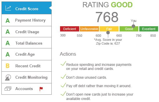 Bright Track Credit Score Monitoring screen capture